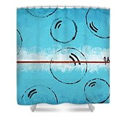 Bubbles Of Energy On A Blue Horizon Shower Curtain