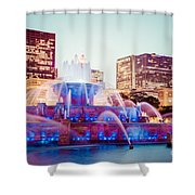 Buckingham Fountain And Chicago Skyline At Night Shower Curtain