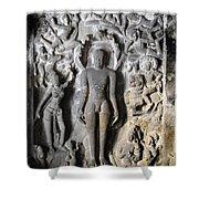 Buddha At Elora Caves India Shower Curtain