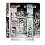 Buddha Carvings At Ajanta Caves Shower Curtain