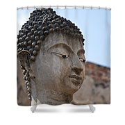 Buddha Head Wat Wattanaram Ayutthaya Thailand Shower Curtain