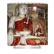 Buddha Image In Po Win Taung Caves. Shower Curtain