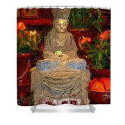 Buddha In Red Shower Curtain
