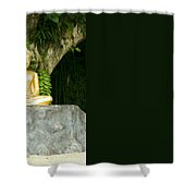 Buddha Statue Under Green Tree In Meditative Posture Shower Curtain