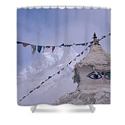 Buddhist Shrine In The Himalayas Shower Curtain