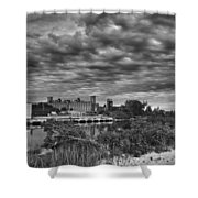 Buffalo Mills Under Clouds Shower Curtain