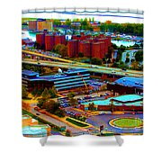 Buffalo New York Aerial View Neon Effect Shower Curtain