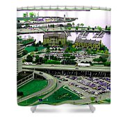 Buffalo New York Waterfront Aerial View Ultraviolet Effect Shower Curtain