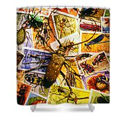 Bugs On Postage Stamps Shower Curtain