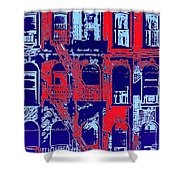 Building Facade In Blue And Red Shower Curtain