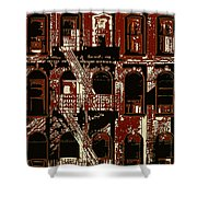 Building Facade In Brown And Red Shower Curtain