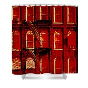 Building Facade In Red And White Shower Curtain