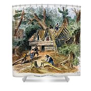 Building Houses, 17th C Shower Curtain