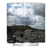 Buildings Cover The Lower Section Of A Hill That Has A Temple At The Top With Clouds Covering The Sk Shower Curtain