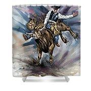 Bull Bucking His Rider Shower Curtain