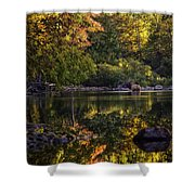 Bull Elk In Buffalo National River In Fall Color Shower Curtain