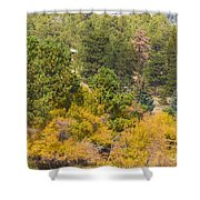 Bull Elk Lake Crusing With Autumn Colors Shower Curtain