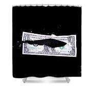 Bullet Hitting A Dollar Bill Shower Curtain