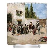Bullfighters Preparing For The Fight  Shower Curtain