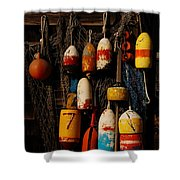 Buoys On Fishing Shack - Greeting Card Shower Curtain