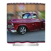 Burgundy Hot Rod Pick Up Abstract Shower Curtain
