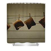 Burnt Toast Hanging On Clothesline Shower Curtain