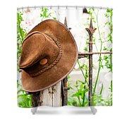 Bush Hat On Railing Shower Curtain