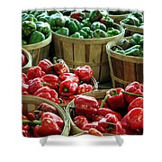 Bushels Of Green And Red Shower Curtain