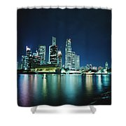 Business District Skyline At Night Shower Curtain