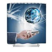 Businessman Holding Mobile Phone With Globe Shower Curtain by Setsiri Silapasuwanchai