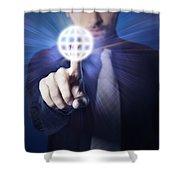 Businessman Pressing Touch Screen Button Shower Curtain