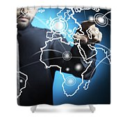 Businessman Touching World Map Screen Shower Curtain by Setsiri Silapasuwanchai