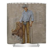 Busted Bronc Rider Shower Curtain