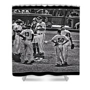 Buster Posey Ryan Theriot Joaquin Arias Hector Sanchez Bruce Bochy Javier Lopez Conor Gillaspie   Shower Curtain