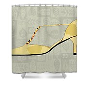 Butter Yellow Leather T Strap Heel Shower Curtain