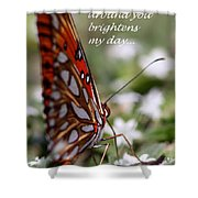 Butterfly Friendship Card Shower Curtain
