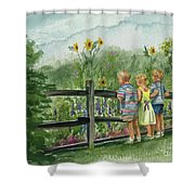 By The Garden Fence  Shower Curtain