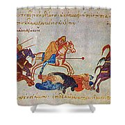 Byzantines Cavalrymen Pursuing The Rus Shower Curtain