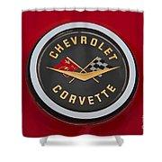 C1 Corvette Emblem Shower Curtain