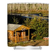 Cabin On The River Shower Curtain