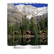 Cabins, Sargents Point, Lake Ohara Shower Curtain
