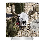 Cactus And Cow Skull Shower Curtain