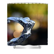 Cadillac Goddess Hood Ornament Shower Curtain