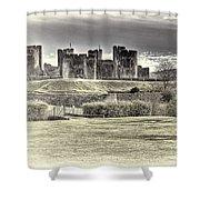 Caerphilly Castle Cream Shower Curtain