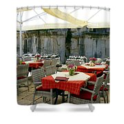 Cafe In Split Old Town Shower Curtain
