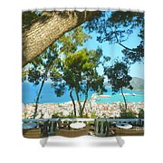 Cafe Terrace At Bohali Overlooking Zante Town Shower Curtain