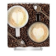 Caffe Latte For Two Shower Curtain by Gert Lavsen