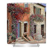 Caffe Sulla Discesa Shower Curtain by Guido Borelli