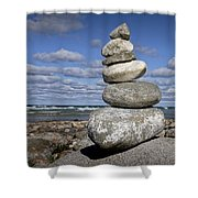 Cairn At North Point On Leelanau Peninsula In Michigan Shower Curtain