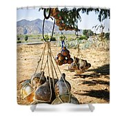 Calabash Gourd Bottles In Mexico Shower Curtain by Elena Elisseeva